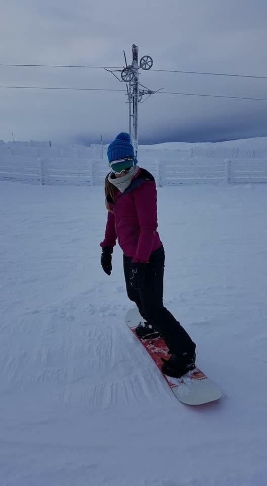 Sarah snowboarding